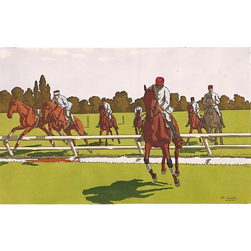 Early 20th-C. Horse Jumping Pochoir