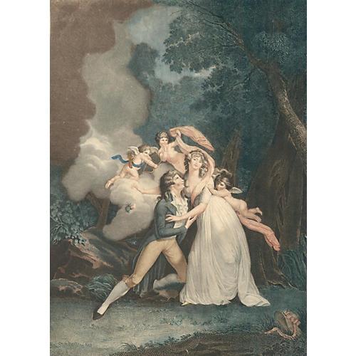 Pair of Lovers, Cupid & Cherubs, C. 1820