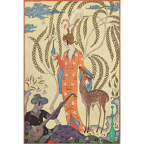 Persian Woman w/Doe by Barbier, 1928
