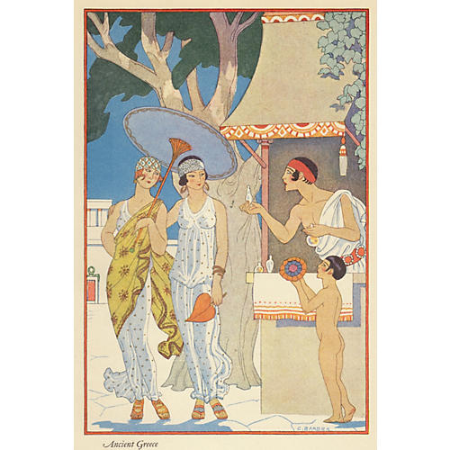 Greek Women w/Parasol by Barbier, 1928