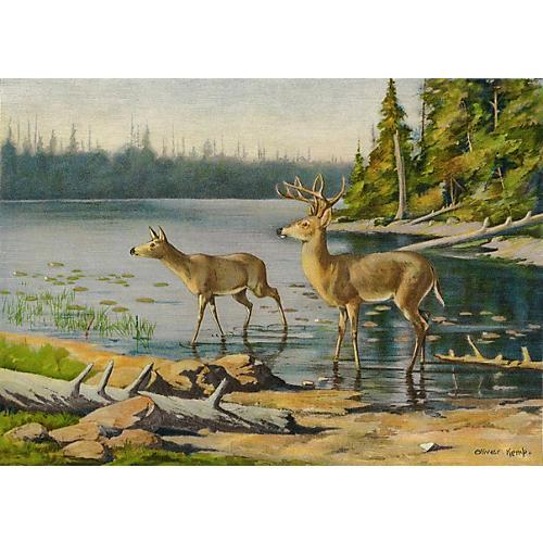 Adirondack Deer Lithograph, C. 1900