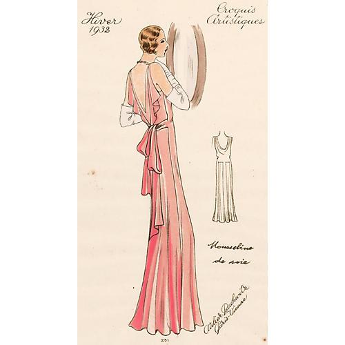 Pink Silk Muslin Evening Gown, 1932