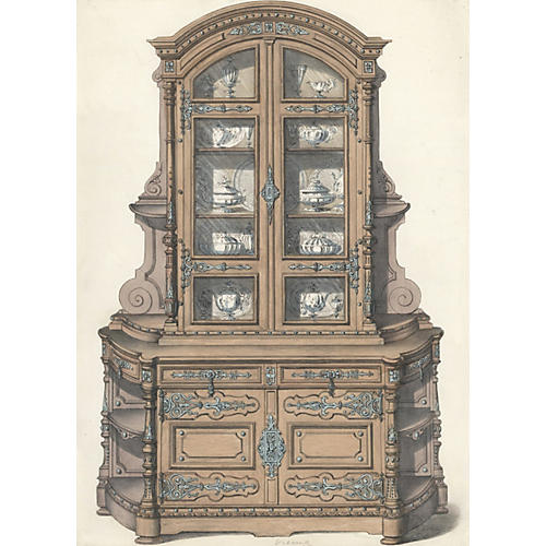 19th-C. China Cabinet w/Dishes