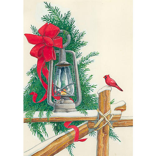 Lantern & Cardinal in Snow Watercolor