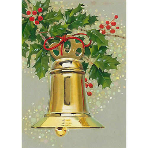 Brass Bell with Holly Watercolor