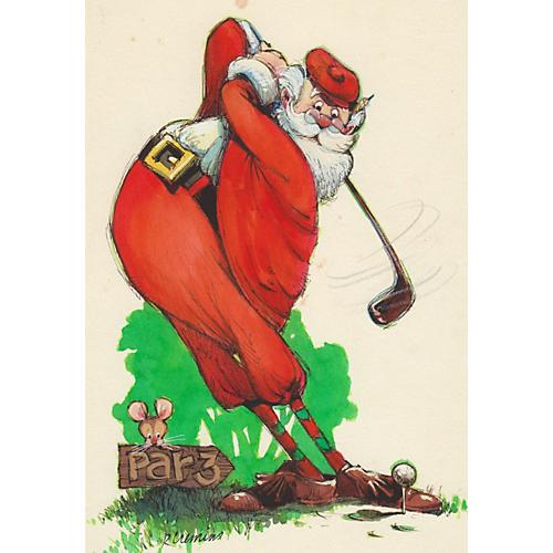 Painting of Santa Claus Golfing