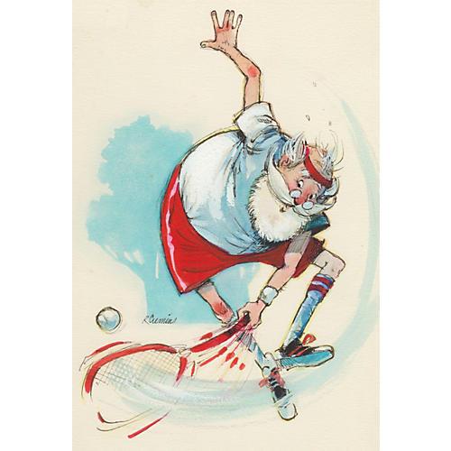 Watercolor of Santa Playing Tennis