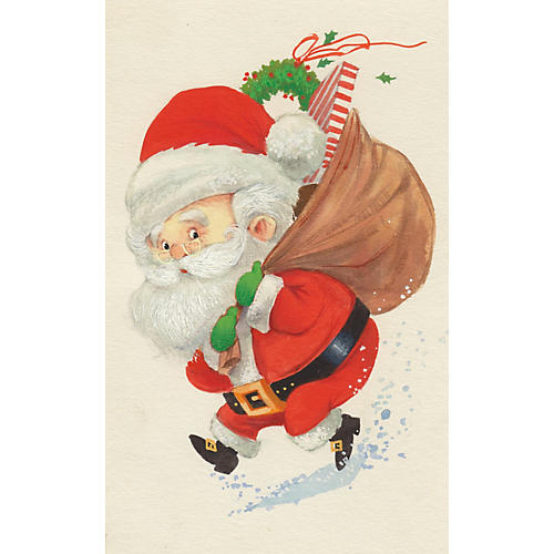 Caricature of Santa Claus with Toys