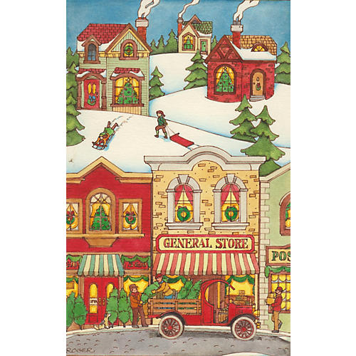 Christmas Village Watercolor