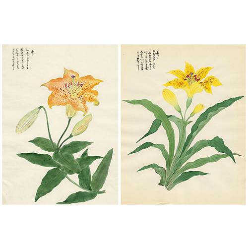 Japanese Tiger Lily Watercolors, Pair