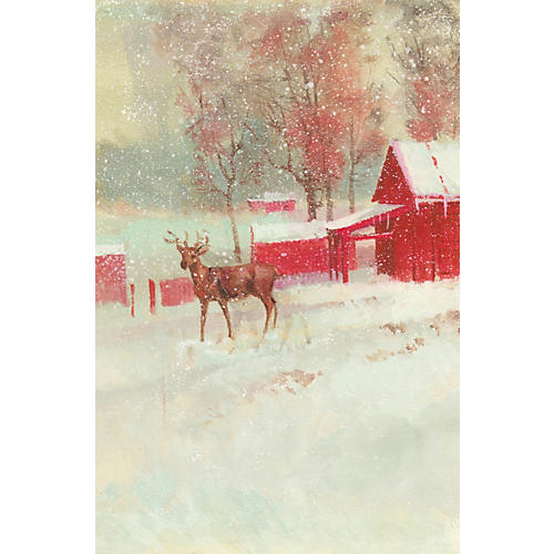 Deer in Front of a Snowy Stable