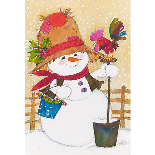 Snowman w/ Rooster & Holly Painting