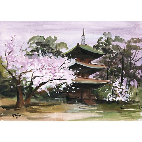 Pagoda & Cherry Blossom Gouache, 1986