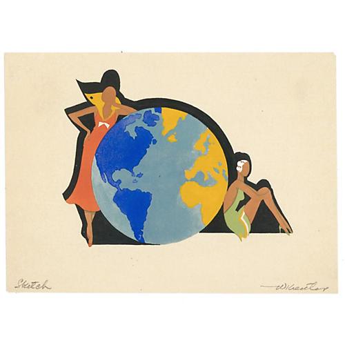 Art Deco Women w/ Globe, C. 1930
