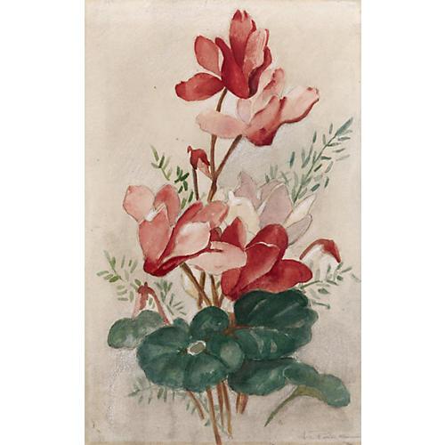Watercolor of Cyclamens, C. 1930
