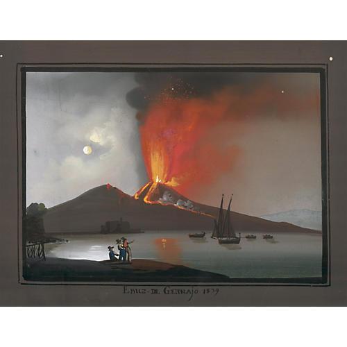 Neapolitan Vesuvius Gouache, C. 1839