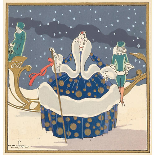 Royal Winter Sleigh Pochoir, C. 1925