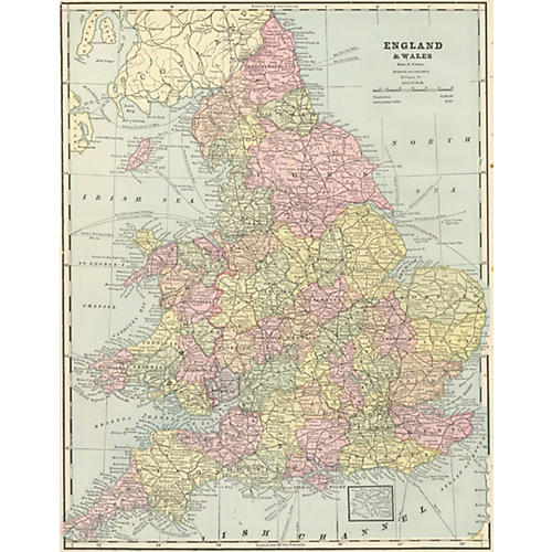 Map of England & Wales, 1889