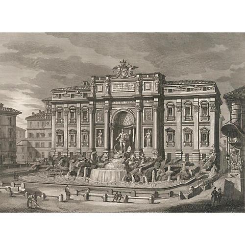 Trevi Fountain, Rome, 1835