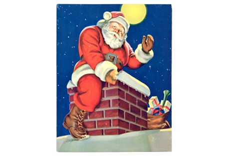 Santa Claus Sitting on the   Chimney