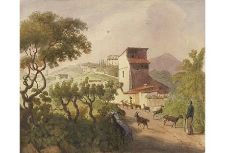 Watercolor of Italian Goatherd, C. 1860