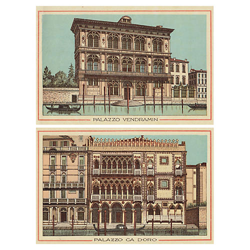 Palaces on the Grand Canal, Venice, Pair
