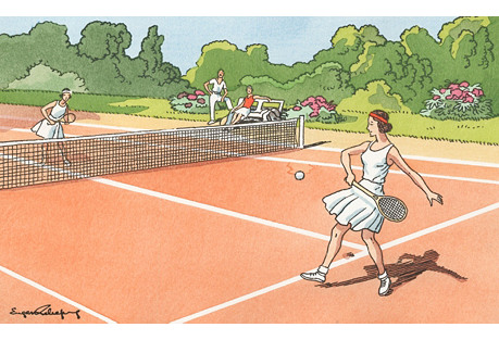 French Ladies   on Clay Court, 1940s