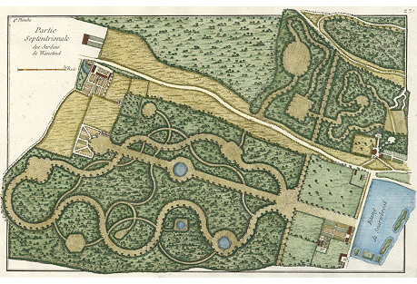 Hand-Colored Garden at Wanstead, C. 1780
