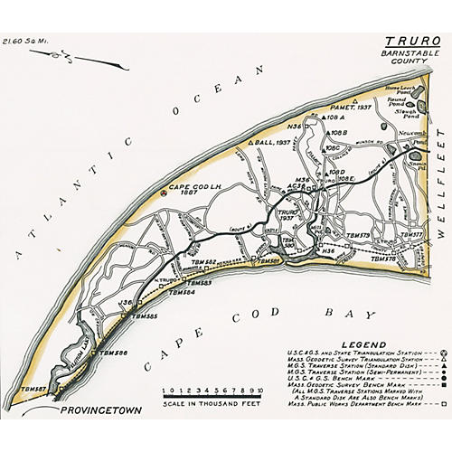 Map of Truro, Cape Cod, 1938