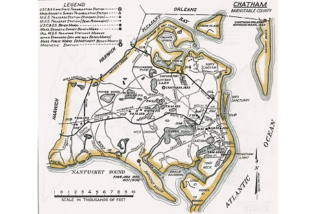 Map of Chatham, Cape Cod, 1938