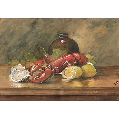 Lobster Still Life Watercolor, C. 1920
