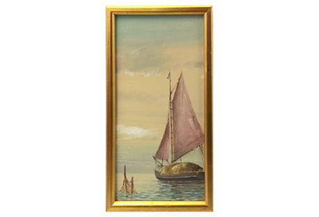 Sailboat at Sunset Watercolor, C. 1920