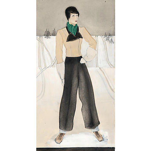 French Ski Fashion Watercolor, C. 1930