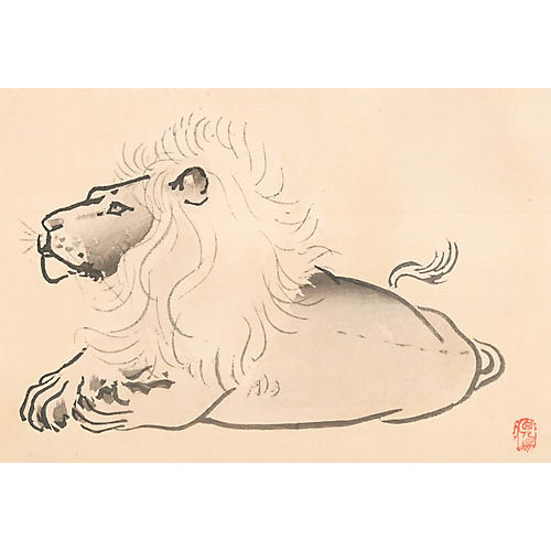 Japanese Lion Woodcut, C. 1900