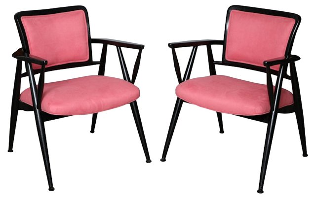 Italian Lacquered Armchairs, Pair