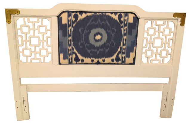 Fretwork Headboard w/ Schumacher Ikat