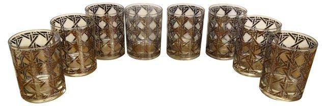 Silver Lattice Rocks Glasses, S/8