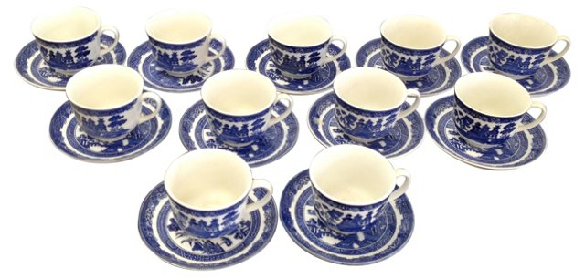 Blue Willow Cups & Saucers, S/11