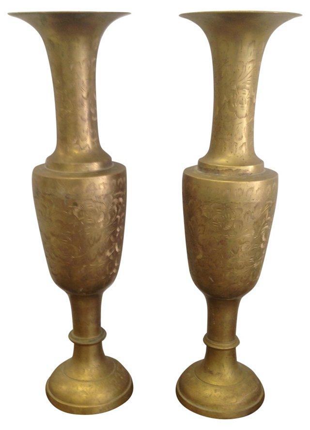 Tall  Engraved Brass Vases, Pair
