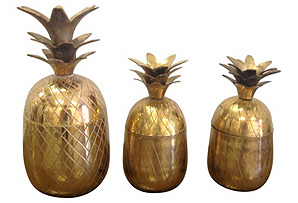 Brass Pineapple Boxes, S/3