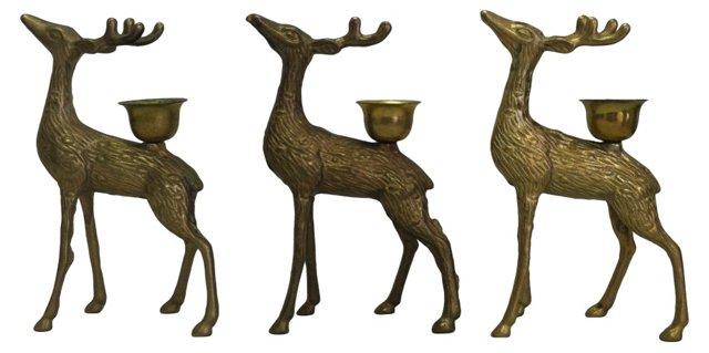 Brass Deer Candleholders, S/3
