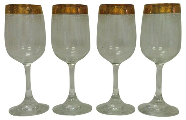Gold Filigree-Rimmed Wine Goblets, S/4