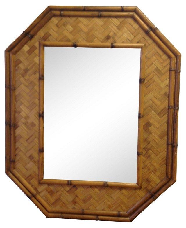 Rattan & Faux-Bamboo Octagonal Mirror