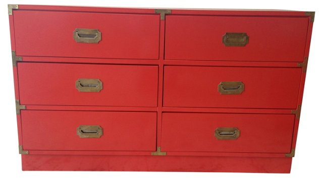 Red Lacquer Campaign-Style Chest