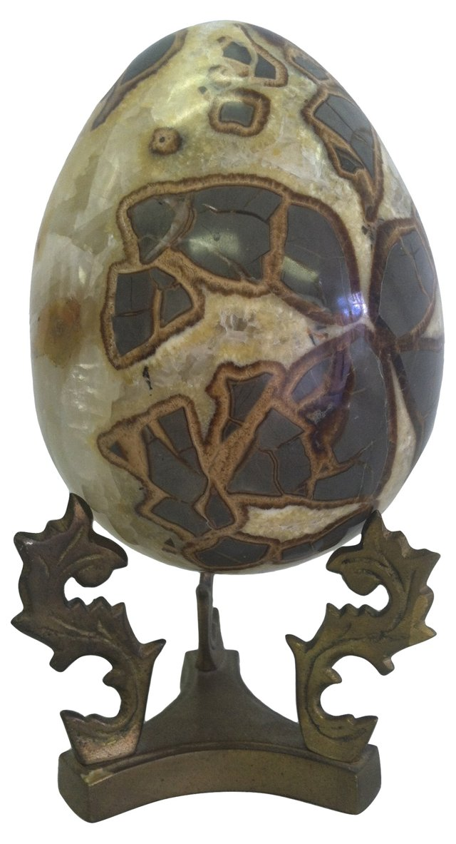 Agate Egg on Brass Stand