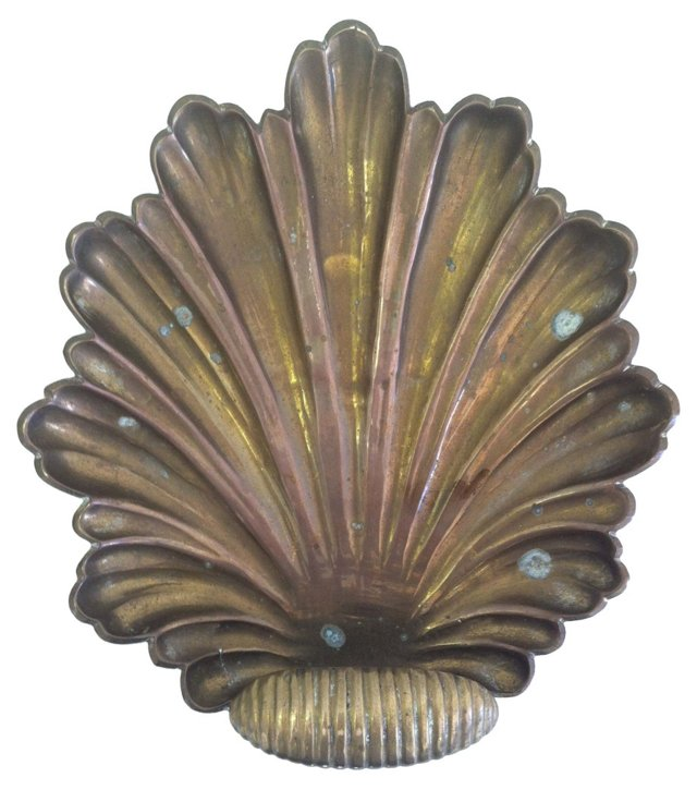 Footed Brass Shell Catchall