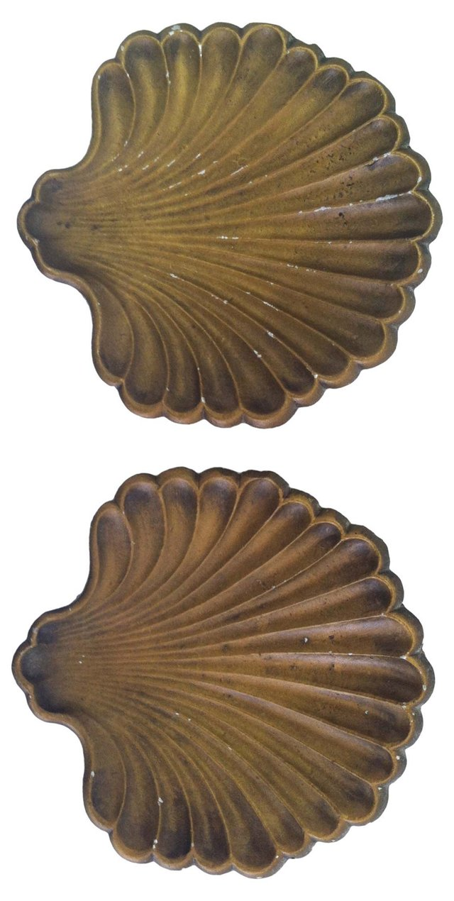 Gilt Seashell Dishes, Pair