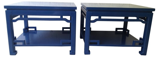 Cobalt Lacquered Ming-Style Tables, Pair