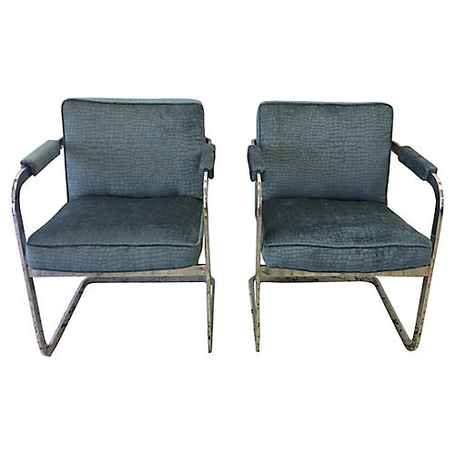 Alligator Velvet Chrome-Framed Chairs