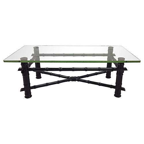 Black Lacquered Faux-Bamboo Table